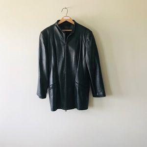 Danier Black Leather Car Coat